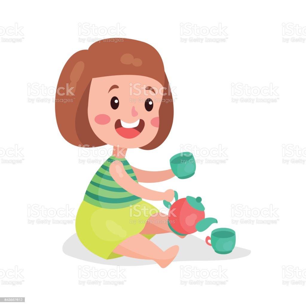 Tatlı Küçük Kız Oyuncak Bardak Ve çaydanlık Karikatür Vektör çizim