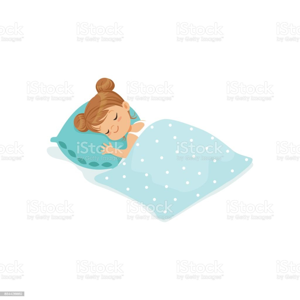 Sweet little girl sleeping on her bed cartoon character vector illustration vector art illustration