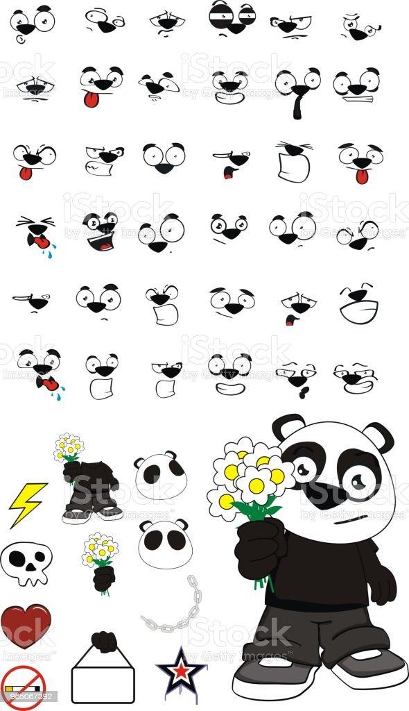 sweet little panda bear kid expressions set sweet little panda bear kid expressions set - stockowe grafiki wektorowe i więcej obrazów ameryka Łacińska royalty-free