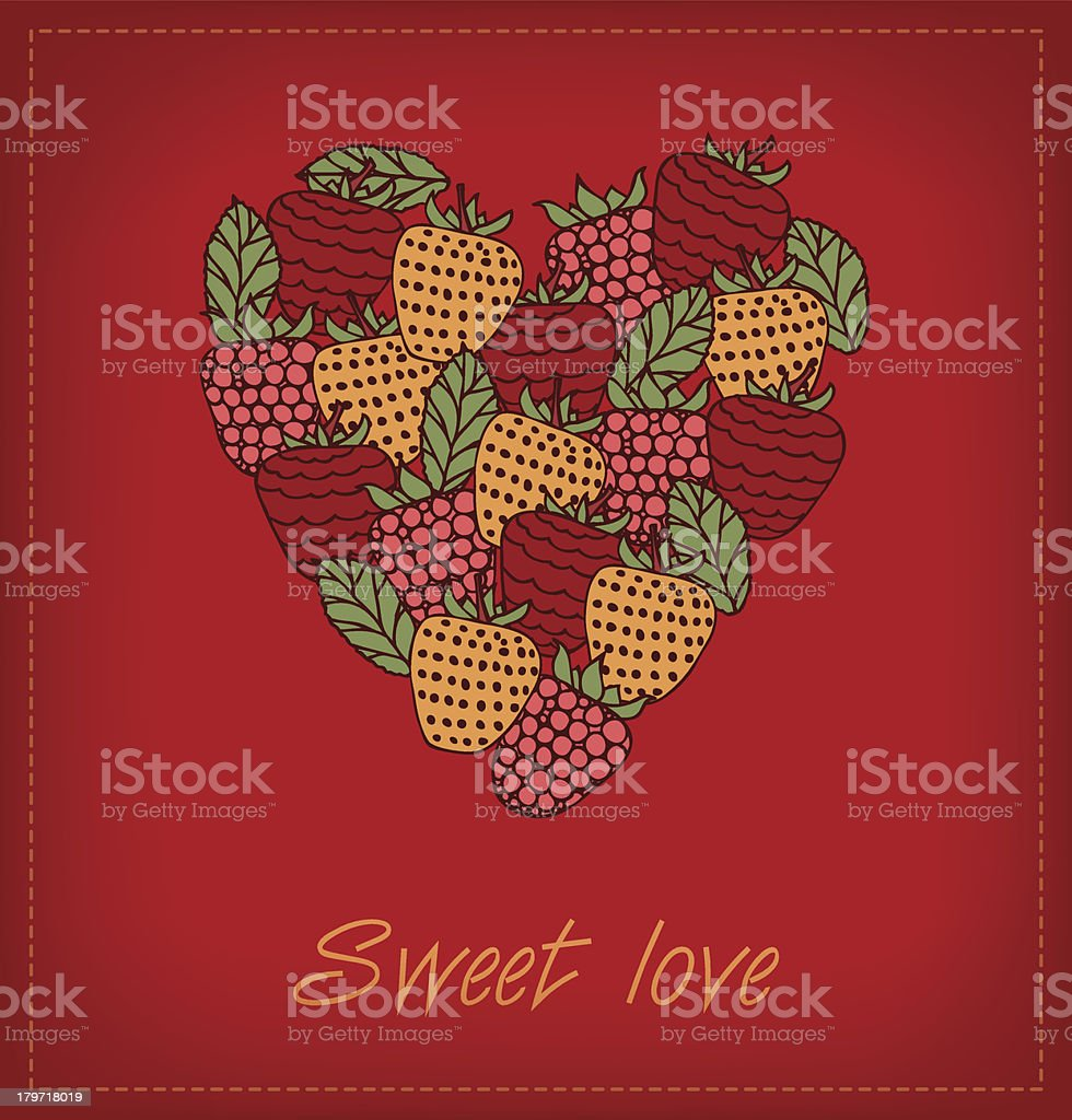 Sweet love. Template with berries and heart royalty-free stock vector art