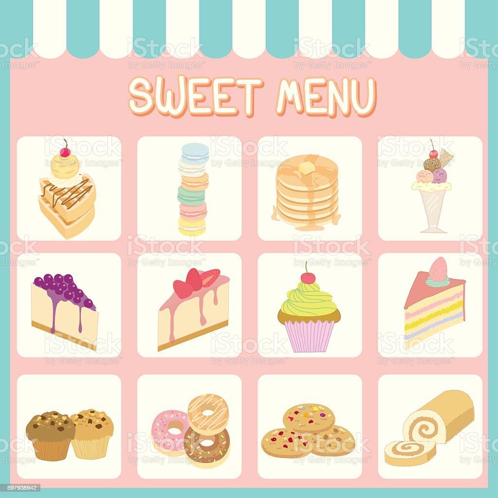 sweet menu blocks ilustração de sweet menu blocks e mais banco de imagens de arte, cultura e espetáculo royalty-free