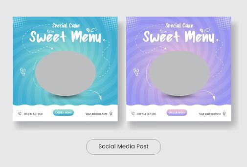Sweet Menu social media post template banner set