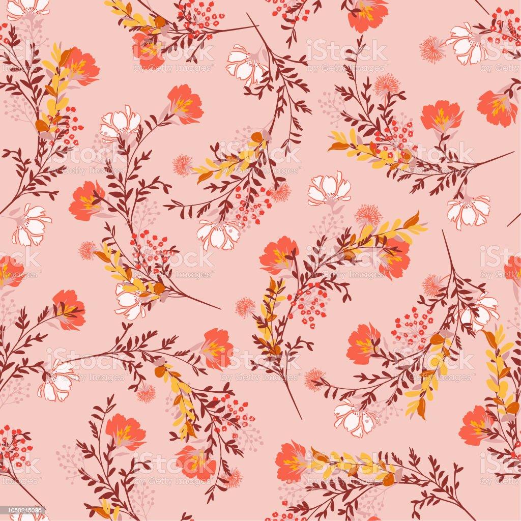 Douce Humeur Et Ton Seamless Pattern Floraison Des Fleurs De Jardin ...