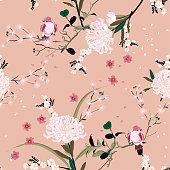 Sweet mood of oriental garden flower with blooming botanical and cherry bloosom florals  seamless pattern vector design for fashion ,fabric,wallpaper, and all prints on vintage pink color background color