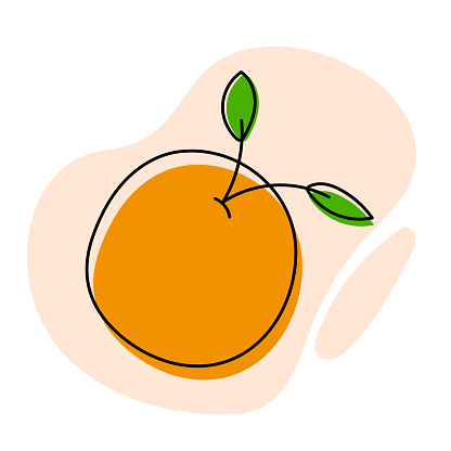 Sweet Orange Illustration with Abstract Shapes