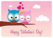 sweet pair of owls in love