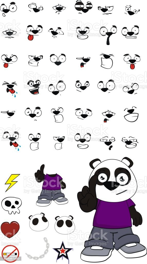 sweet panda bear kid expressions set royalty-free sweet panda bear kid expressions set stock vector art & more images of angel