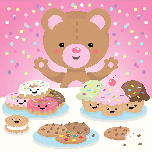 Sweet party kawaii bear vector art illustration