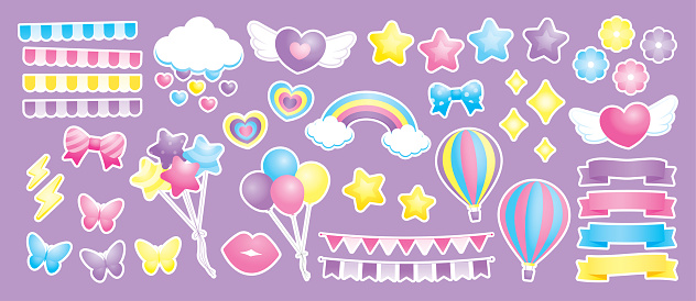 sweet pastel girly stuff vector collection