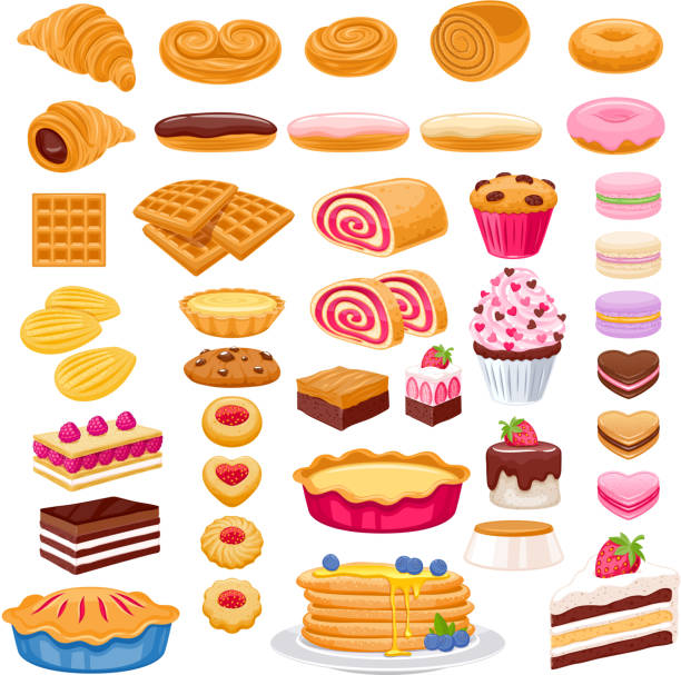 Sweet pastry icons set. Vector bakery products. Sweet pastry icons set. Vector bakery products - french baguette, croissant, bagel, roll, cake, pie, cupcake, cookies eclair macaron madeleines mille-feuille pastry dough stock illustrations