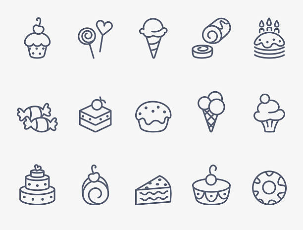 Sweet pastry icons Set of15 sweet pastry icons cake icons stock illustrations