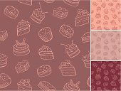 Outline vector seamless pattern of sweets