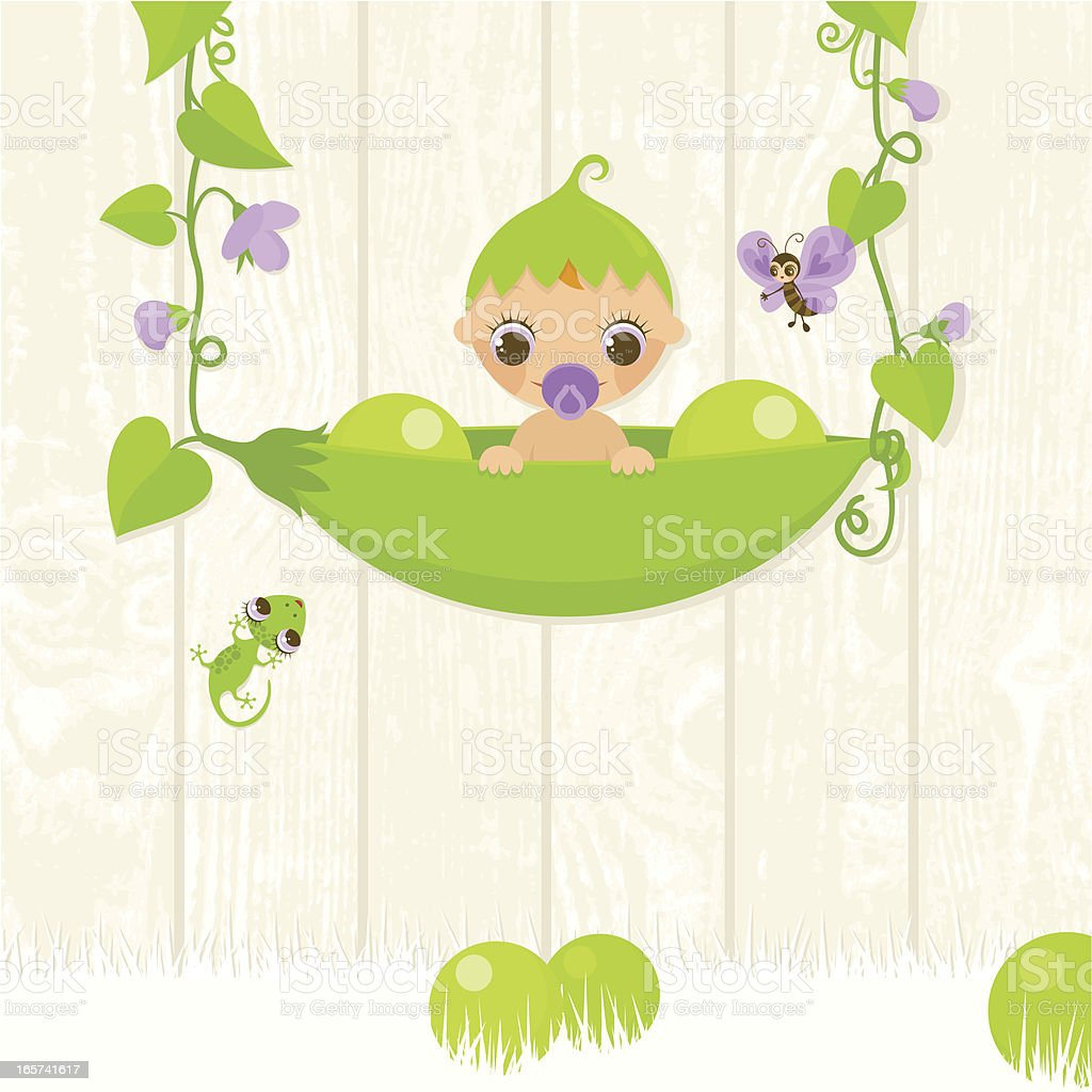 Sweet pea. Baby in a pod royalty-free sweet pea baby in a pod stock vector art & more images of animal