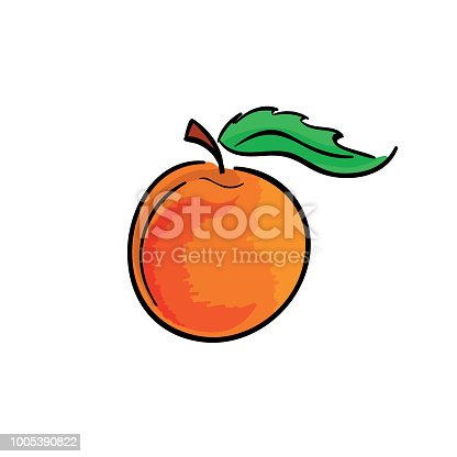 Sweet peach isolated on white background. Vector illustration.