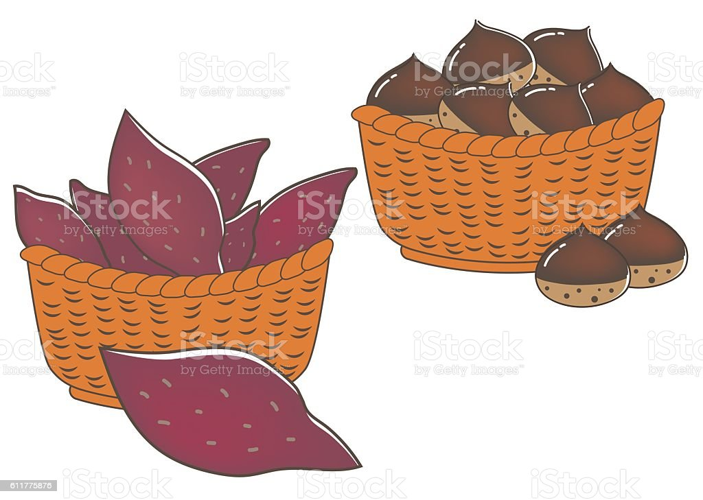 Sweet potatoes and chestnuts vector art illustration