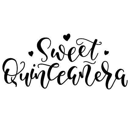 Sweet Quinceanera - Black spanish lettering Sweet fifteen, vector illustration for Latin American girl 15 birthday celebration.