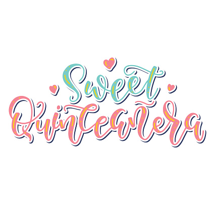 Sweet Quinceanera - Calligraphy for Latin American girl birthday celebration. Colored vector illustration with Spanish text.