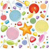 Sweet Rain Of Candies, Lollipops, Marmalade And Bubble Gum