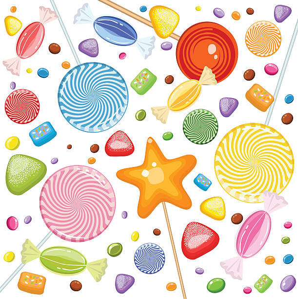 Sweet Rain Of Candies, Lollipops, Marmalade And Bubble Gum  All main elements are grouped and rendered complete for separate use. Zipped *. ai CS3 is attached. gum drop stock illustrations