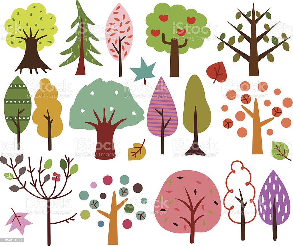 Sweet Retro Trees (vector Icons) Seamless background royalty-free stock vector art