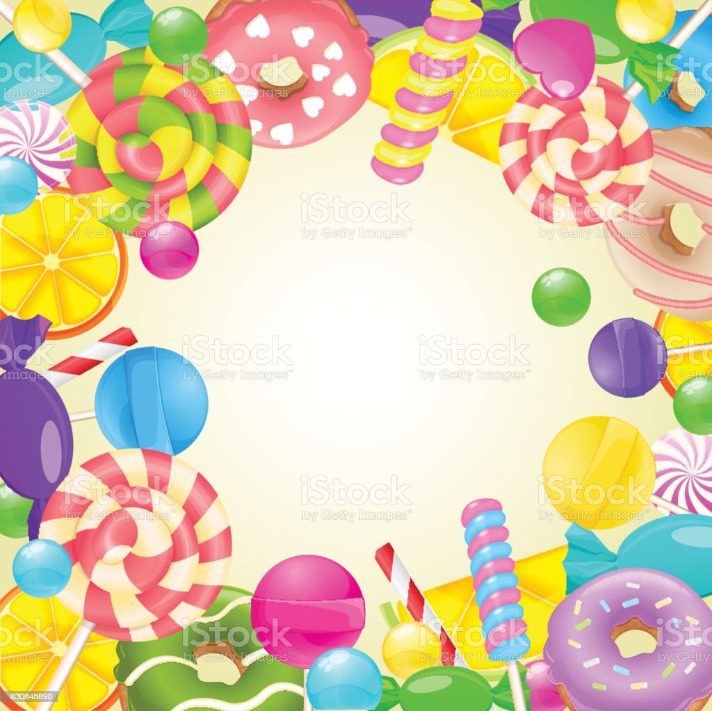 sweet round frame different candies and sweets colorful Storefront Clip Art Gas Station Clip Art