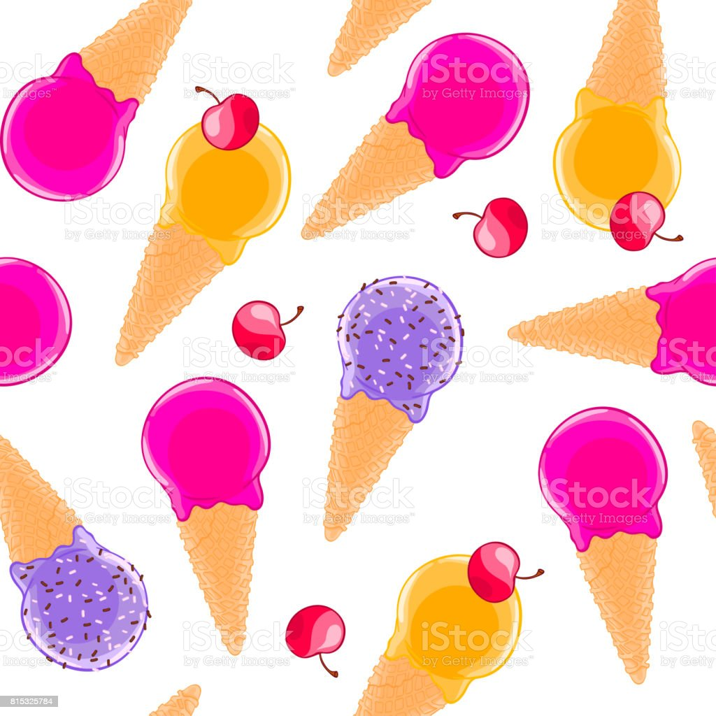 Sweet seamless pattern with multiciolor fruit ice cream cones and cherries. vector art illustration