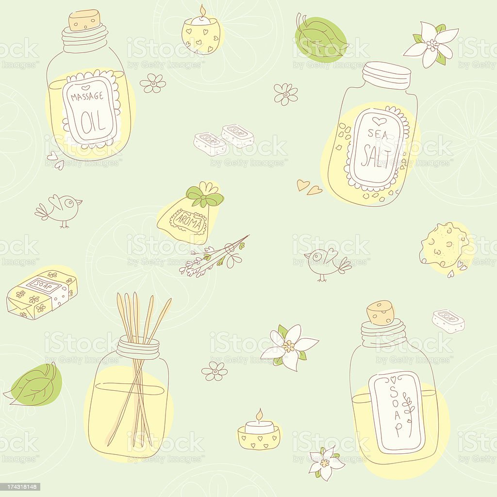 Sweet seamless pattern with sketchy spa stuff royalty-free stock vector art