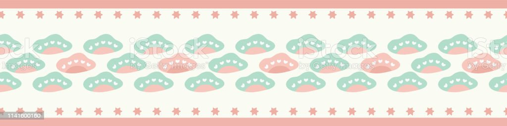 Sweet seamless repeat border of pastel clouds and stars. A border ideal for younger children and babies.