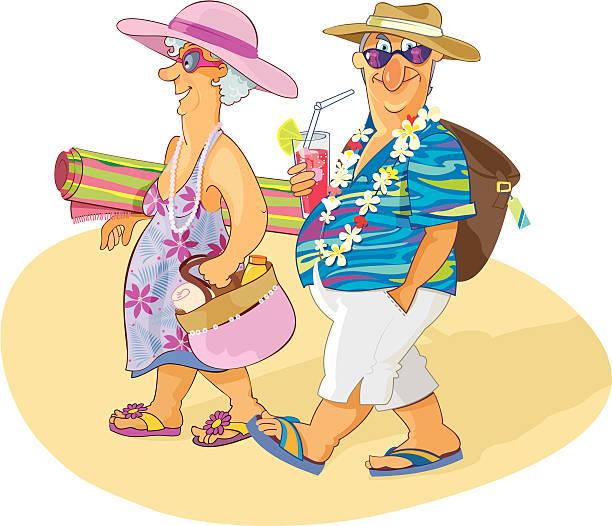 bildbanksillustrationer, clip art samt tecknat material och ikoner med sweet senior couple having a beach vacation - aktiva pensionärer utflykt
