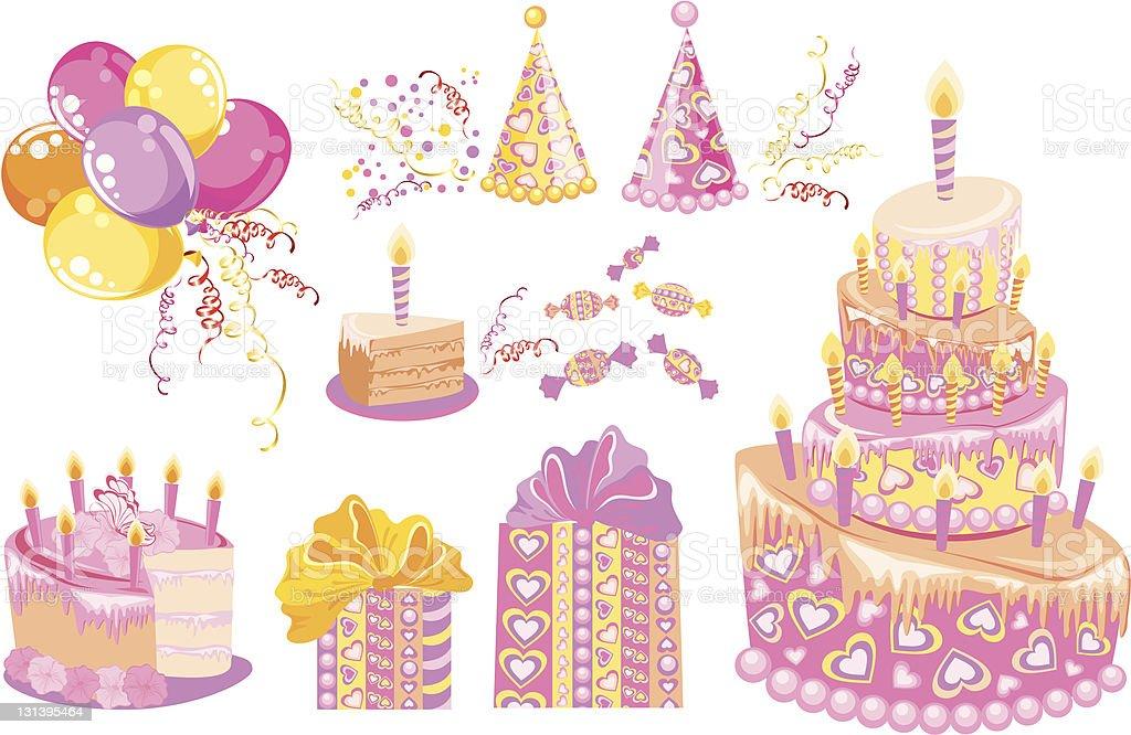 Adorable ensemble pour fête d'anniversaire - Illustration vectorielle