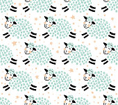 vector seamless pattern with cute sheep on isolated background