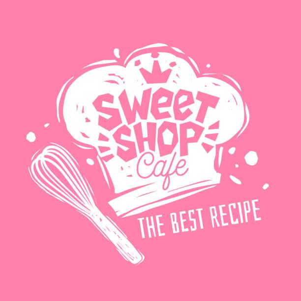 stockillustraties, clipart, cartoons en iconen met snoepwinkel café logo embleem labelontwerp. - eetklaar