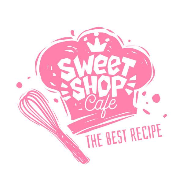 tatlı dükkanı cafe logo etiket amblem tasarımı. - ekmekçi dükkânı stock illustrations