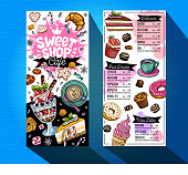 Sweet shop cafe menu template. Colorful logo design label, emblem. Lettering, sweets, pastry croissant, candy cookie colorful, splash, coffee doodle, yummy. Hand drawn vector illustration