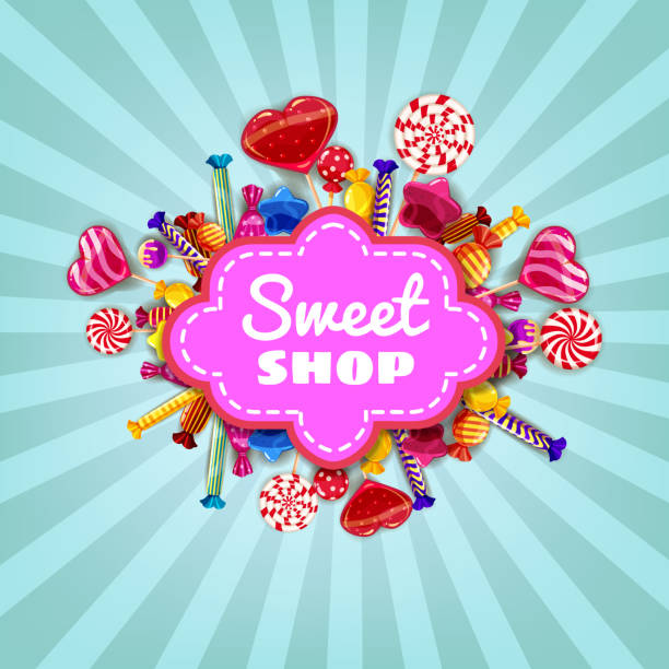 Sweet Shop Candy template set of different colors of candy, candy, sweets, chocolate candy, jelly beans. Background, poster, banner, vector, isolated, cartoon style Sweet Shop Candy background set of different colors of candy, candy, sweets, chocolate candy, jelly beans candy borders stock illustrations