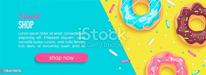 istock Sweet shop horizontal banner with donuts. 1284578376