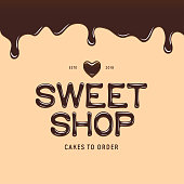Sweet shop icontype template. Chocolate style text and heart. Bakery or cake store advertising emblem. Vector illustration.