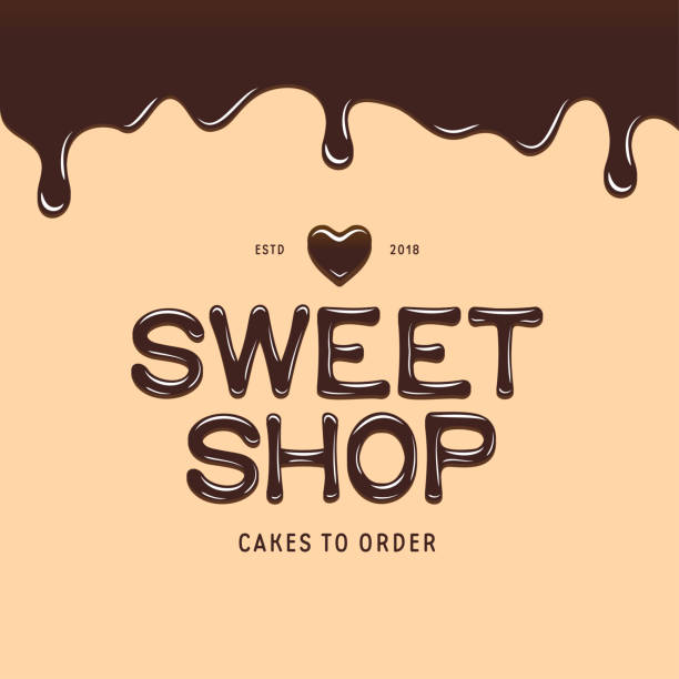 Sweet shop icontype template. Chocolate style text. Vector illustration. Sweet shop icontype template. Chocolate style text and heart. Bakery or cake store advertising emblem. Vector illustration. candy backgrounds stock illustrations