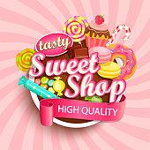 Sweet shop label or emblem for your design. Vector illustration.
