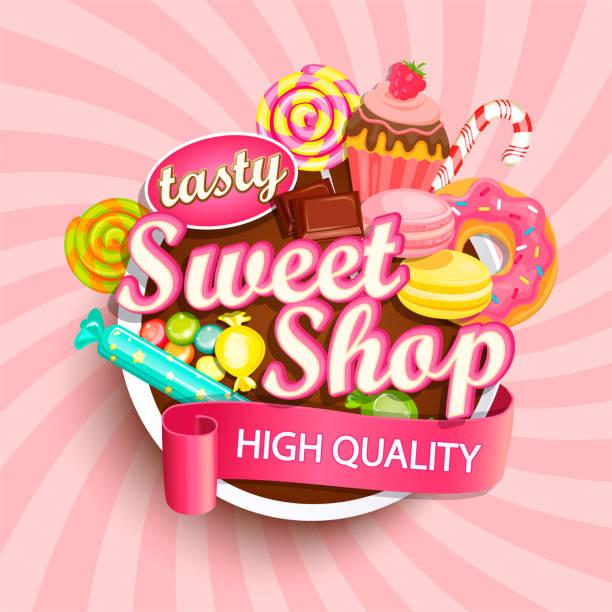 Sweet shop label or emblem. Sweet shop label or emblem for your design. Vector illustration. candy backgrounds stock illustrations