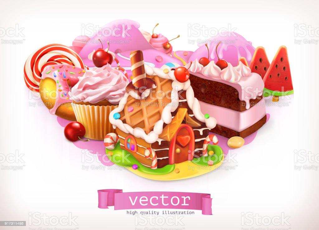 Susswarenladen Rosa Susswaren Und Desserts Lebkuchenhaus Kuchen Kuchen