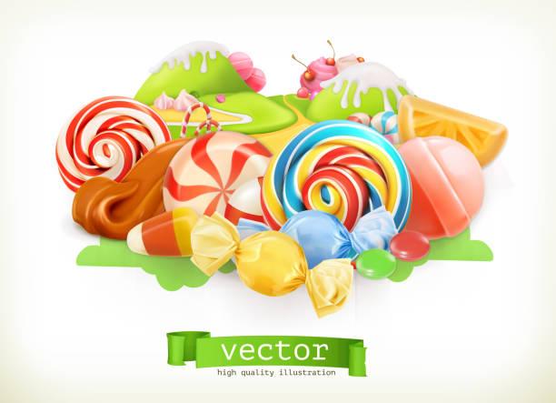 甜店。漩渦糖果, 棒糖, 焦糖。糖果地。3d 向量圖示 - 陸地 幅插畫檔、美工圖案、卡通及圖標