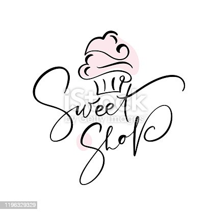 Sweet shop vector calligraphic text with logo. Sweet cupcake with cream, vintage dessert emblem template design element. Candy bar birthday or wedding invitation.