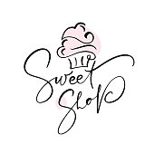 istock Sweet shop vector calligraphic text with logo. Sweet cupcake with cream, vintage dessert emblem template design element. Candy bar birthday or wedding invitation 1196329329