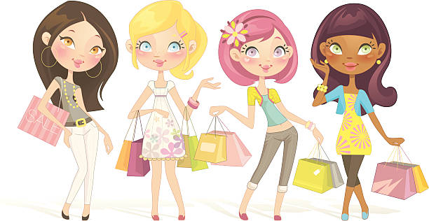 sweet shopping dolls - chihhang stock illustrations