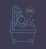 sweet shower bathtub and duck foam bubbles blue background