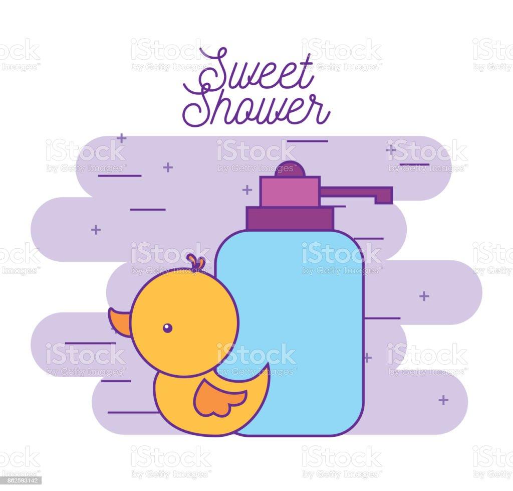 sweet shower rubber duck and bottle soap vector art illustration