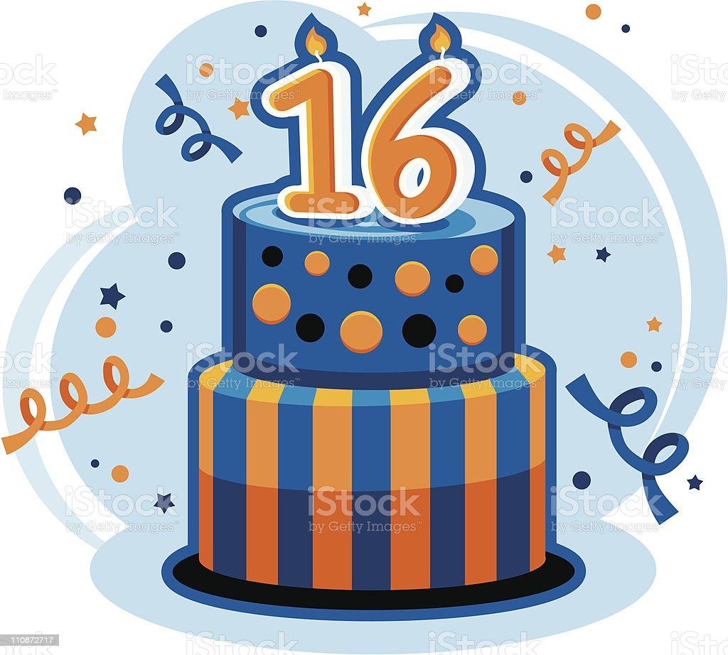 Sweet Sixteen Birthday Cake vector art illustration