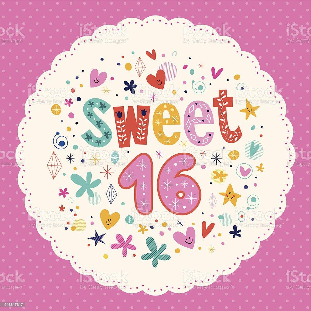Sweet Sixteen card vector art illustration