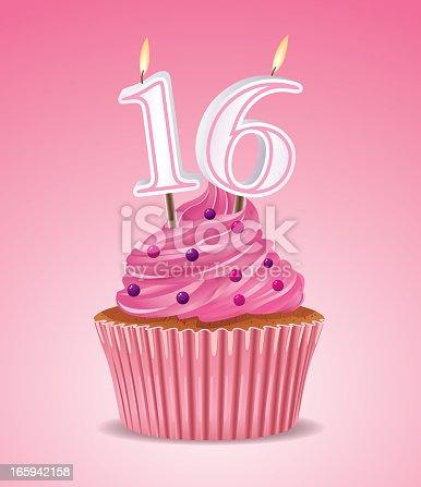 istock Sweet sixteen cupcake 165942158
